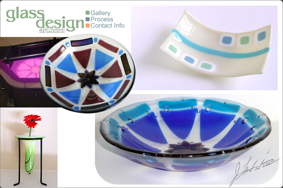 glassdesignart.com gallery features custom glass art pieces such as bowls, vases, platters, abstracts, and more.